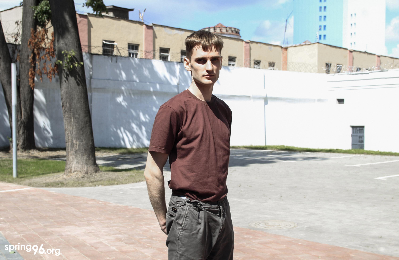Вяргілій за 2 месяцы зняволення вельмі схуднеў. Цяпер штаны, якія насіў раней, падвязвае вяроўкай. Фота: spring96.org