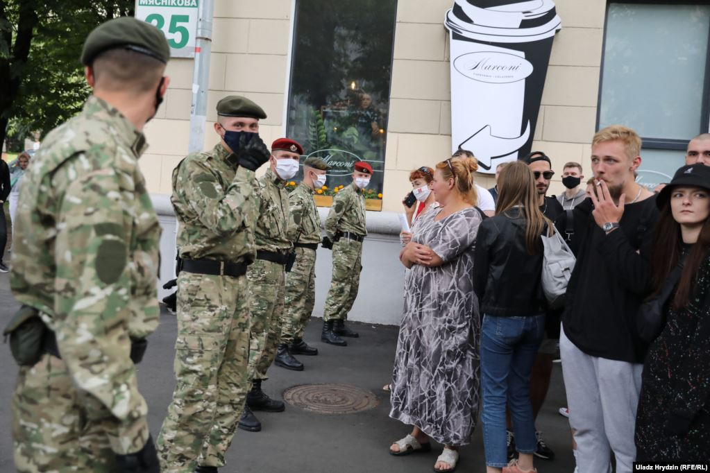 Internal troops in the streets of Minsk during the peaceful protests on July 15, 2020. Photo: svaboda.org