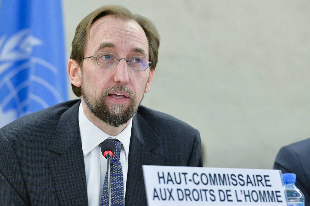 High Commissioner for Human Rights Zeid Ra'ad Al Hussein, at a panel discussion on the death penalty and the prohibition of torture and other cruel, inhuman or degrading treatment or punishment, at the 34th Session of the Human Rights Council. 1 March 2017. UN Photo/Jean-Marc Ferré