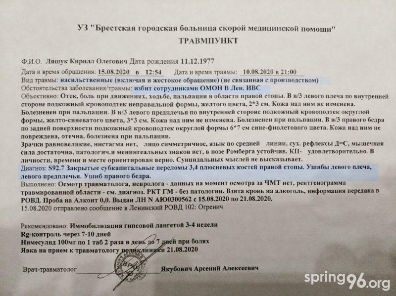 Справка Кирилла Ляшука