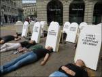 Flash mob against death penalty in Zurich
