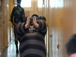 Persons convicted of particularly serious crimes escorted along the corridor in a prison in Žodzina. Photo: zhodinovel.com