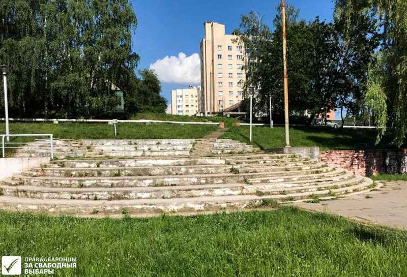 Tučynski park, the only authorized campaigning venues in Minsk's Frunzienski district, home to half a million people