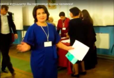 Chairperson of Minsk PEC No. 6 speaking to observers