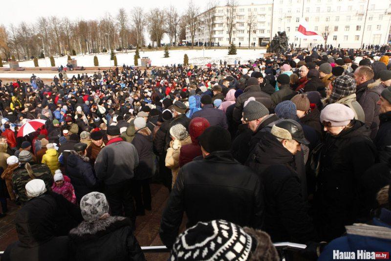 Акцыя пратэсту ў Віцебску 26 лютага 2017 года. Фота: Наша ніва.