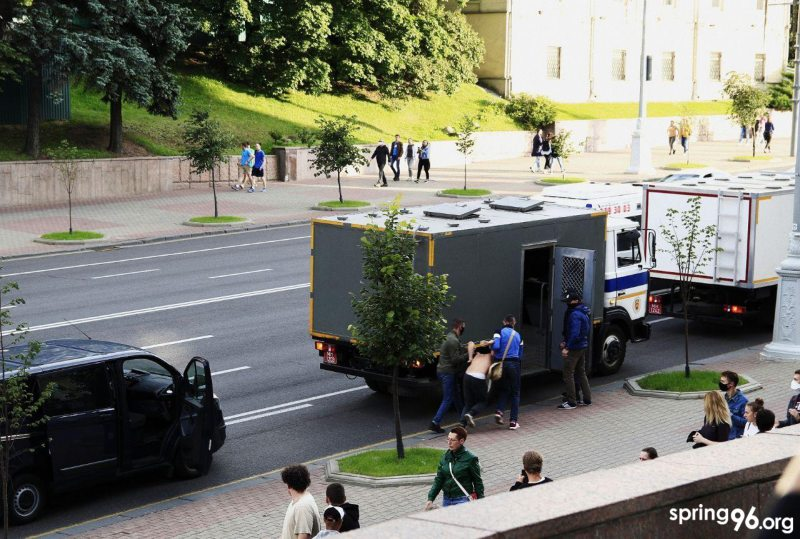 Protester detained in central Minsk. July 14, 2020