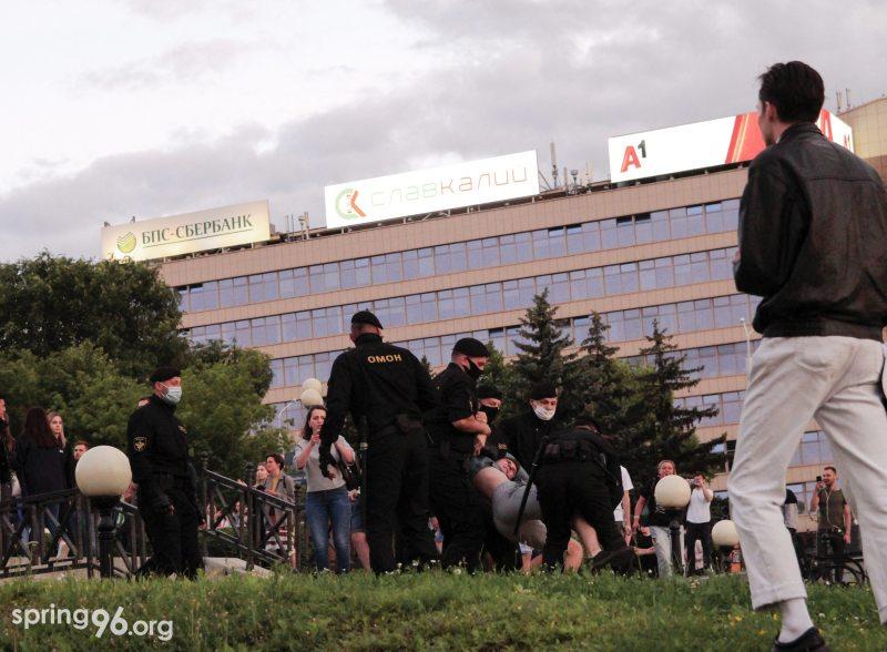 Riot police detain protester in Minsk. July 15, 2020