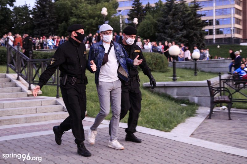 Police officers detain a protester in Minsk, Belarus, on July 14, 2020 during a protest rally against a decision to bar a number of opposition candidates from running in the presidential elections on August 9