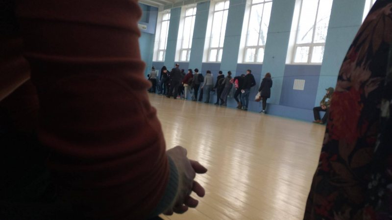 Detained human rights defenders in a gym inside the Pieršamajski District Police Department of Minsk